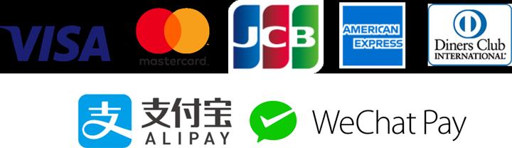 VISA MasterCard JCB AmericanExpress DinersClub ALIPAY WeChatPay UnionPay docomo au SoftBank LINEPay